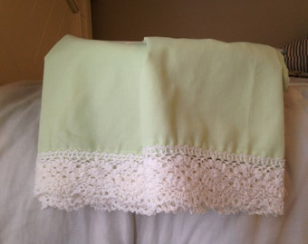 Light Green Pillowcases with Lace Trim. (Set)