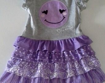 Girls T-shirt Dress, Toddler t-shirt dress, Size 4T t-shirt dress, Purple t-shirt dress
