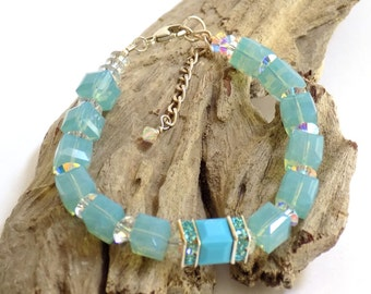 Blue Opal Bracelet, Crystal Bracelet, Turquoise Bangle Bracelet, Chunky Bracelet, Swarovski Crystal Jewelry, Handcrafted Jewelry