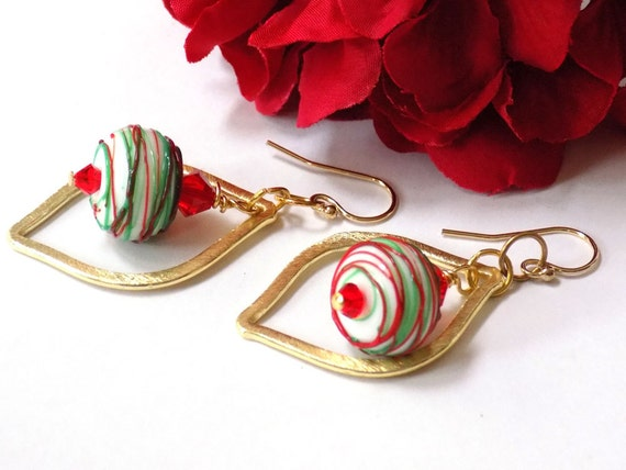 Holiday Earrings for Women, Red Earrings, Gold Dangle Earrings, Green Earrings, Swarovski Crystal Jewelry, Glass Earrings, Handmade Jewelry