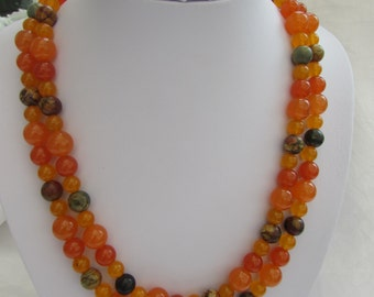 Double strand Brazilian Orange Topaz and Picasso Bead Necklace