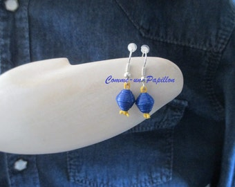 Earrings hooks paper yellow and blue beads