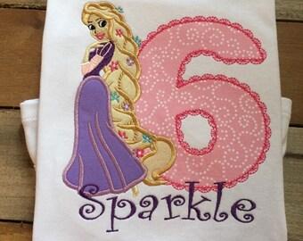 Rapunzel applique shirt, punzel applique shirt, Rapunzel birthday shirt, Disney applique shirt, Disney princess shirt, SSD-40