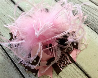 Pink and Brown Over The Top Hair Bow, Girls Hair Bow, Over The Top Hair Bows, Baby Headband ,OTT Hair Bow, Ostrich Feather Hair Bow Clip