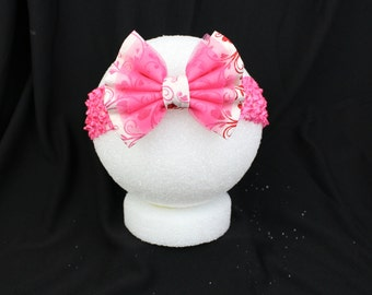 Pink and white bow headband