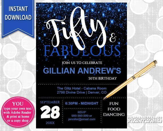 50th birthday invitation for women 50 and fabulous 50th birthday il570xn filmwisefo
