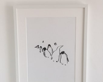 Abstract line of penguins 2