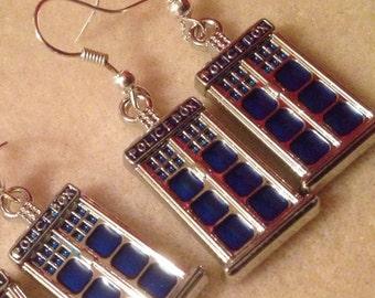 Dr Who Tardis Earrings, price is for 1 pair