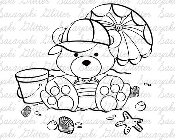 Beach Teddy Digital Stamp By Sasayaki Glitter