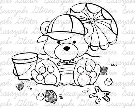 Beach Teddy Digital Stamp By Sasayaki Glitter