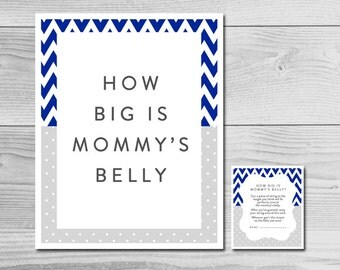 Chevron Navy Blue and Grey Baby Shower Game - How Big is Mommy's Belly? - Instant Download Printable - Baby Boy