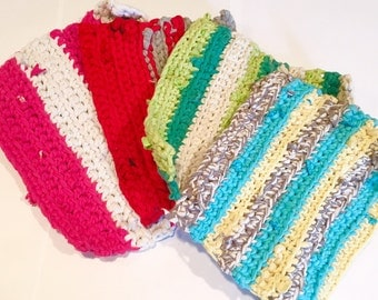 Woven Pot Holders - Bright Potholders  - Crocheted - T Shirt Yarn - Blue - Green - Red - Decor - Kitchen - Dining Room - Cookware