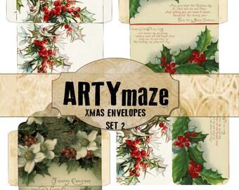 """3 Printable CHRISTMAS Envelopes & Matching Journaling cards 6"""" x 4"""" SET 2"""