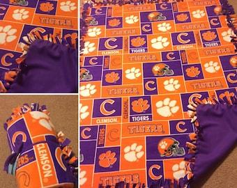 Clemson Tigers Hand Tied Fleece Blanket