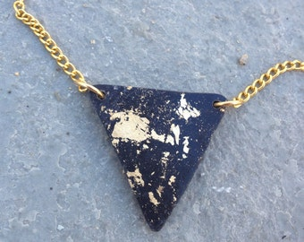Minimalist and Trendy Black PolymerClay with Gold Leaf Necklace