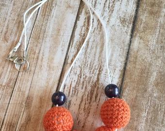 Orange crochet necklace