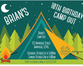 "Birthday Camp Out Invitation - Any Age - Any Gender! 4""x6"" or 5""x7""!"