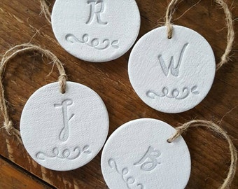 Set Of 4 Personalized Christmas Ornaments ~ Monogram Ornament ~ Clay Ornaments ~ Clay Christmas Ornament ~ Personalized Gift