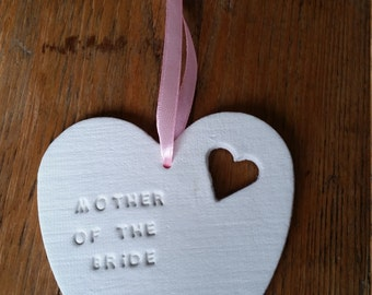 Mother Of The Bride Gift ~ Mother Of The Groom Gift ~ Clay Heart ~ Hanging Clay Heart ~ Wedding Gift
