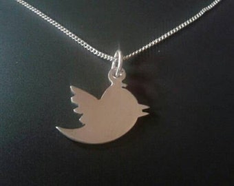 Sterling silver twitter bird pendant 25mm x 20mm