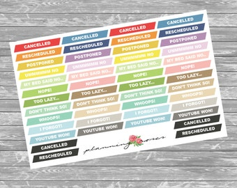 Cancelled/Rescheduled Label Stickers || 48 Planner Stickers