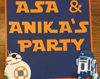 Welcome Party Sign, R2D2 Party, BB8 Party, Welcome Sign, Door Sign, Party Sign