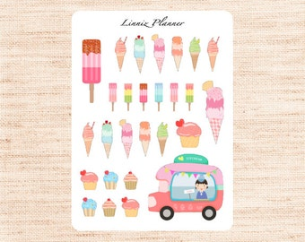 Ice Cream Decorative (matte planner sticker, Erin Condren, Happy Planner, Filofax, Kikki K)