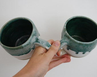 Drip Mugs / Coffee Cups in Green and White - hand made ceramics pottery