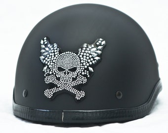 Rhinestone Helmet Patch - Winged Skull Crossbones