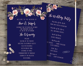 Floral Navy Program Printable Boho Chic Wedding Order of Service Bohemian Blue Wedding Program Modern Typography Spring / Summer Wedding
