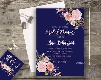 Floral Navy Bridal Shower Printable Boho Chic Wedding Invitation Suite Bohemian Wedding Invite Modern Typography Spring / Summer Wedding