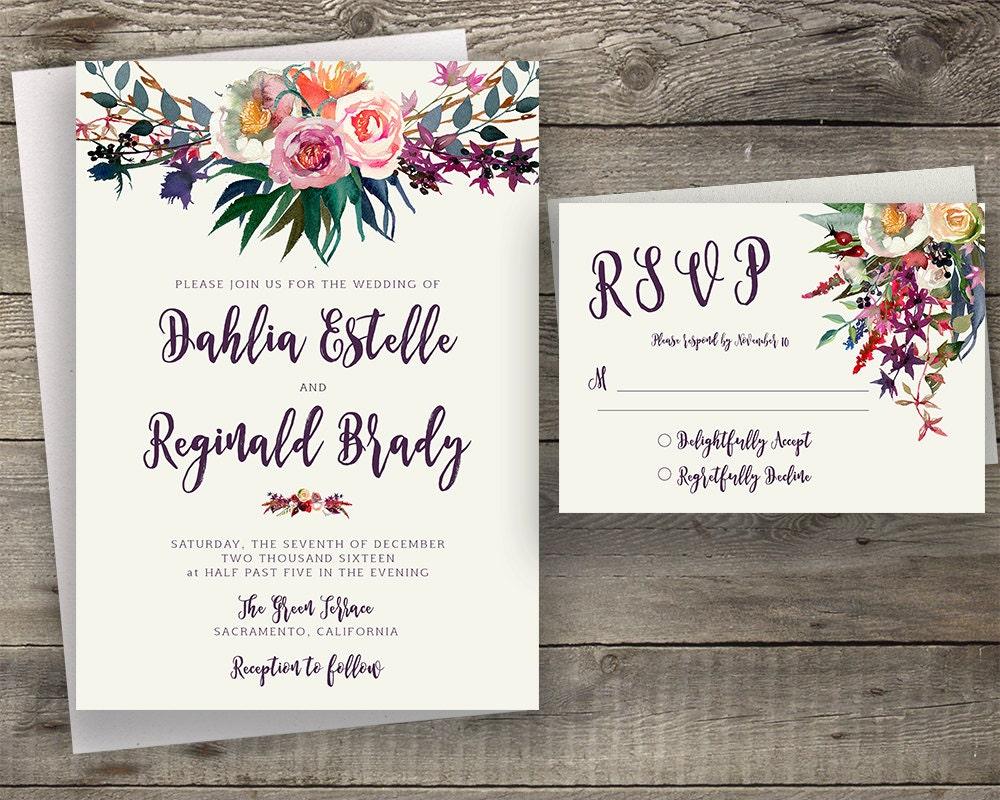 Floral Wedding Invitation Printable Boho Chic Suite Bohemian Invite Modern Typography Fall