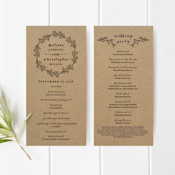 printable wedding program template kraft paper ceremony