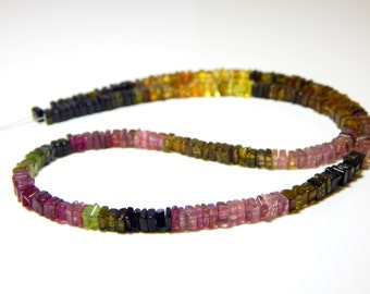 Multi Tourmaline Heishi Beads Smooth Square Shape 100% Natural Gemstone / Size 3.3x4.4 mm Approx Code - 0064