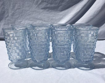 10 OZ. Vintage Indiana Glass Whitehall Light Baby Blue Footed Tumblers, Cubist Glasses Set of 8 Ice Tea Glasses Indiana Glass