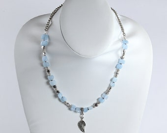 Aquamarine & Silver Necklace, Blue and Silver Necklace, Pewter and Gemstone Necklace