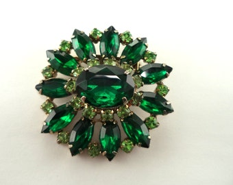 Emerald Green Rhinestone Brooch Multiple Tier Brooch