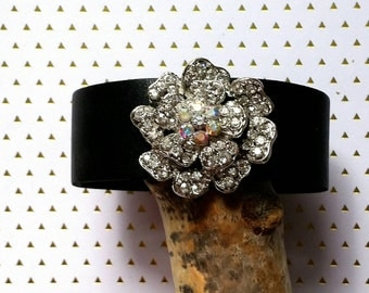 Thin leather cuff bracelet embellished with rhinestone brooch,1 inch wide leather cuff, leather bracelet, flower brooch,floral bracelet