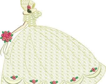 "wedding bride machine embroidery download 3 different sizes ( 8x8"" 6x6""5x5"" 3.4 X 3.4 hoop)"