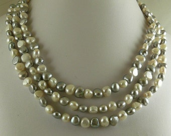 Freshwater White & Gray Flat Pearl Triple Strand Necklace with Sterling Silver