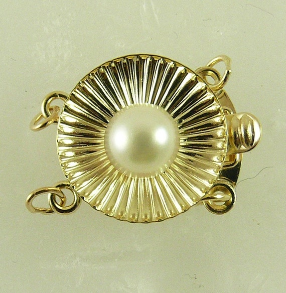Akoya White 5.5 mm Pearl Round Clasp,14K Yellow Gold for Double Strand