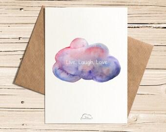 Printed Watercolor cards, Live, Laugh, Love! Cloud, Sky, Card