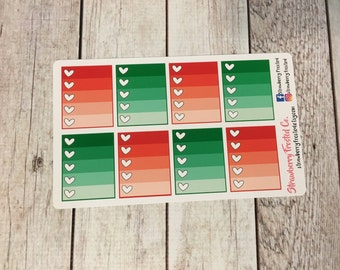 Christmas Red and Green Monthly Ombre Checklist Planner Stickers -Vertical Planners/