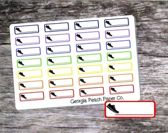 Walking Tracker Boxes Planner Stickers in Bold Colors- Made to fit Vertical Layout