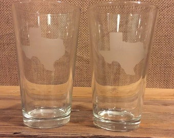 Texas etched pint glasses