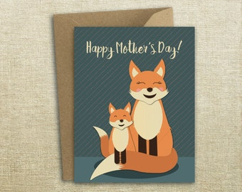 Fox Family Mother's Day Card, Fox Card, Mother's Day, Card Set