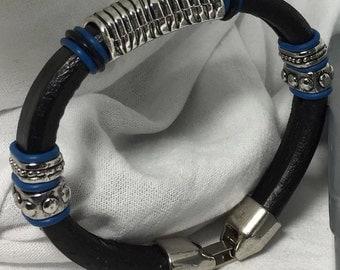 Black Licorice leather bracelet