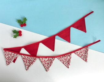Christmas bunting - Mistletoe decoration - Mini Christmas bunting - Festive bunting - 1 metre bunting - Christmas in July