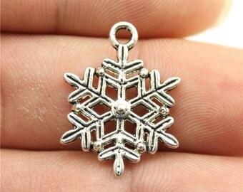 10 Snowflake Charms, Antique Silver Tone (1U-202)