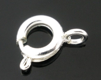 15 Spring Ring Clasps, Silver Plated (1I-240) NEW3